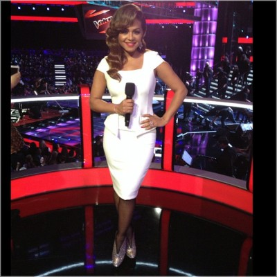 "Christina Milian :""#theVoice look of the day dress"" [via Instagram]"
