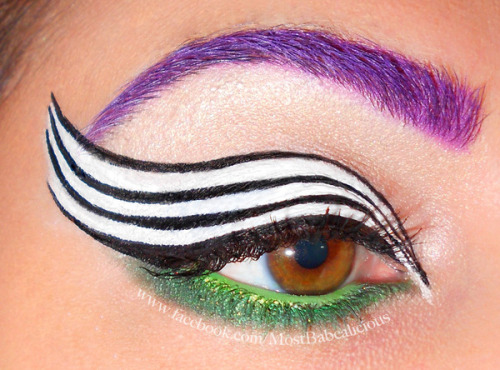 Angela J. creates an eye look inspired by Beetlejuice!