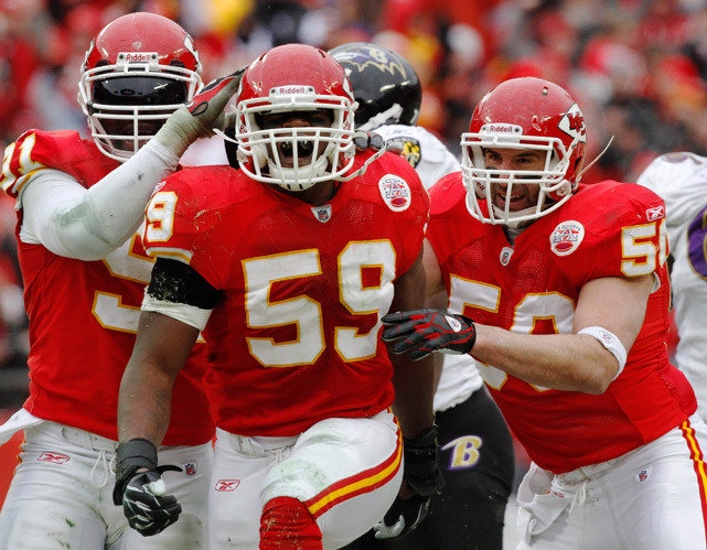 Chiefs linebacker Jovan Belcher reacts with teammates after sacking Ravens quarterback Joe Flacco during the second quarter of a Jan. 2011 Chiefs-Ravens game. Police say Belcher fatally shot his girlfriend early Saturday and then drove to Arrowhead Stadium and committed suicide in front of his coach and general manager. (AP Photo/Jeff Tuttle, File) EPSTEIN: Belcher's tragic death makes clear it's hard to illuminate the heart