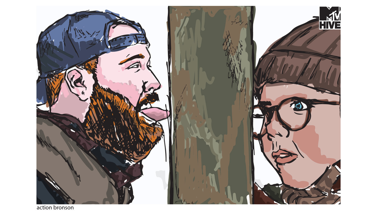 Download Action Bronson x 'A Christmas Story' Wallpaper (via @MTVHive)  If there is a surefire way to trigger the warm rush of holiday nostalgia, A Christmas Story might be it. From Ralphie's fateful visit with an overbearing Santa to the arrival of his father's fra-gi-le lamp, every scene sticks out like a little boy in a pink bunny-eared onesie. This year, Hive decided to insert some of our favorite musicians into the films's most iconic scenes for a collection of digital wallpapers and limited-edition postcards. For this first installment (of 6!), we find Queens rapper Action Bronson with his tongue stuck to that fateful flagpole. Illustrations by @SheaSerrano