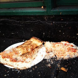 two slices with water. W4th st. #pizza #streetfood #eats #cheese #lunch #slice #cigarette #smoke #snack #NYC #sortofdisgusting