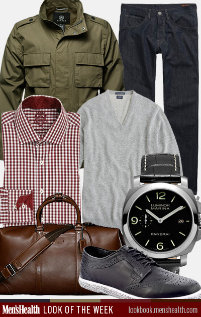 menshealthstyle:  What do YOU think of our #LookoftheWeek—great for holiday travel! Sweater: J. CrewJeans: Ben ShermanJacket: Aether ApparelShirt: English Laundry via NordstromShoes: J. ShoesCarry-on bag: CoachWatch: Panerai