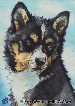 Quick and simple ACEO with one of my fave dog colors. I'm planning to give this card away either by trade or by selling it. Just comment/ note me here or on dA (click image for link) with an offer if you want it!