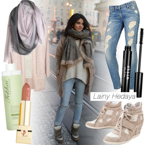 Inspired by our community member's oversized sweater, ripped denim and wedge sneakers look? Learn how to steal NYC StyledOn gal Lainy Hedaya's style today!