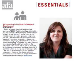 "The Association of Fraternity/Sorority Advisors November issue of ""Essentials"" features MIT FSILG's Cat Sohor To view Cat Sohor's article in PDF form, click here. To visit the AFSA website, click here."