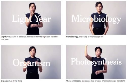Signing Science, an awesome NYT interactive feature starring Lydia Callis (elsewhere, notoriously spoofed by SNL).  (via avirajagopal)