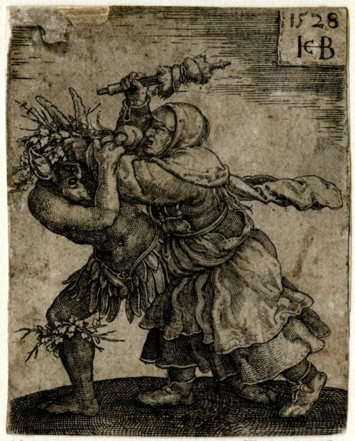tatteredbanners:  A Witch Attacking the Devil by Jacob Binck, 1528