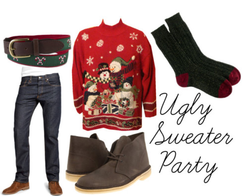 Holiday parties are in full swing, and we want to help you dress right, no matter what the setting. Just because your sweater has to be ugly, that doesn't mean the rest of your outfit should be. Keep it jolly with seasonal socks and and a candy cane belt.  The Details »