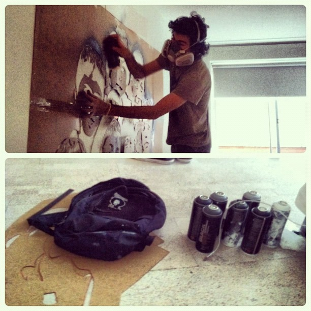 Icy and Sot beginning the mural. Its goin' down. #NUANCE @ #csart #art #mural  (at Nu Hotel)