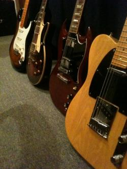 kevinwilliamsmusic:  Guitarmageddon.   4 axes that kick your butt!