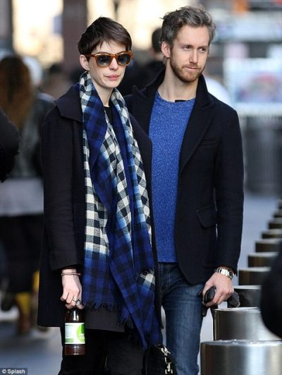Anne Hathaway + husband Adam Shulman out + about in NYC
