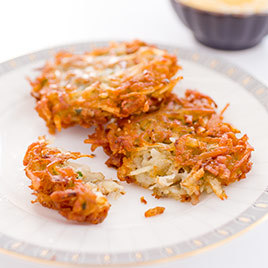 Our latkes are light and buttery, surrounded by a shatteringly crisp outer shell. Do you top yours with applesauce or sour cream?