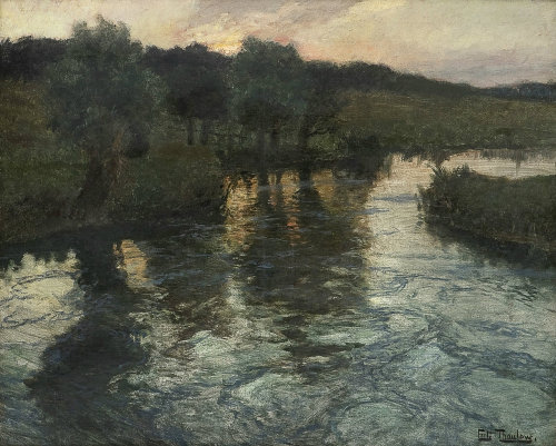 poboh:  River Landscape, evening, Frits Thaulow. Norwegin Impressionist Painter (1847 - 1906)
