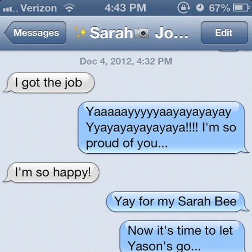 My love bug @saraheloso got the job, bitches!!! She is a hustler just like her older sis! She sets my world on fiyah!!