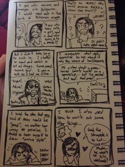Part one of a series of low effort journal comics I drew about Me and Anime. Sorry for the pic quality, Im at work