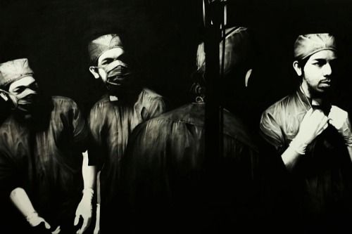 darksilenceinsuburbia:  J. Ariadhitya Pramuhendra. The Four Thinkers, 2012. Charcoal on canvas, 6.2 x 9.10 feet / 190 x 300 cm.