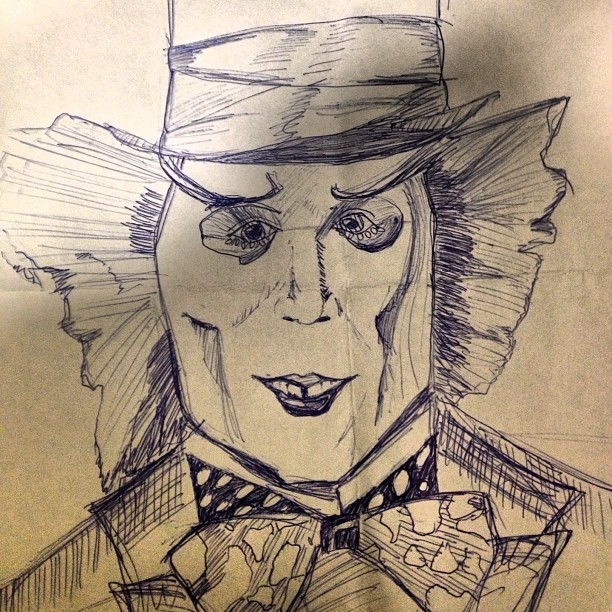 How I pass my time at work #madhatter #aliceinwonderland #jonnydepp #sketch #work #boredom
