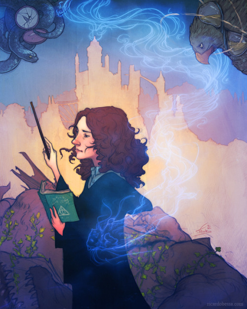 eatsleepdraw:  Hermione Granger for the Girls: Fact or Fiction show at Light Grey Art Lab by Ricardo Bessa. Can you find the 6 clues about Hermione's story in this picture? Print Website Tumblr Twitter