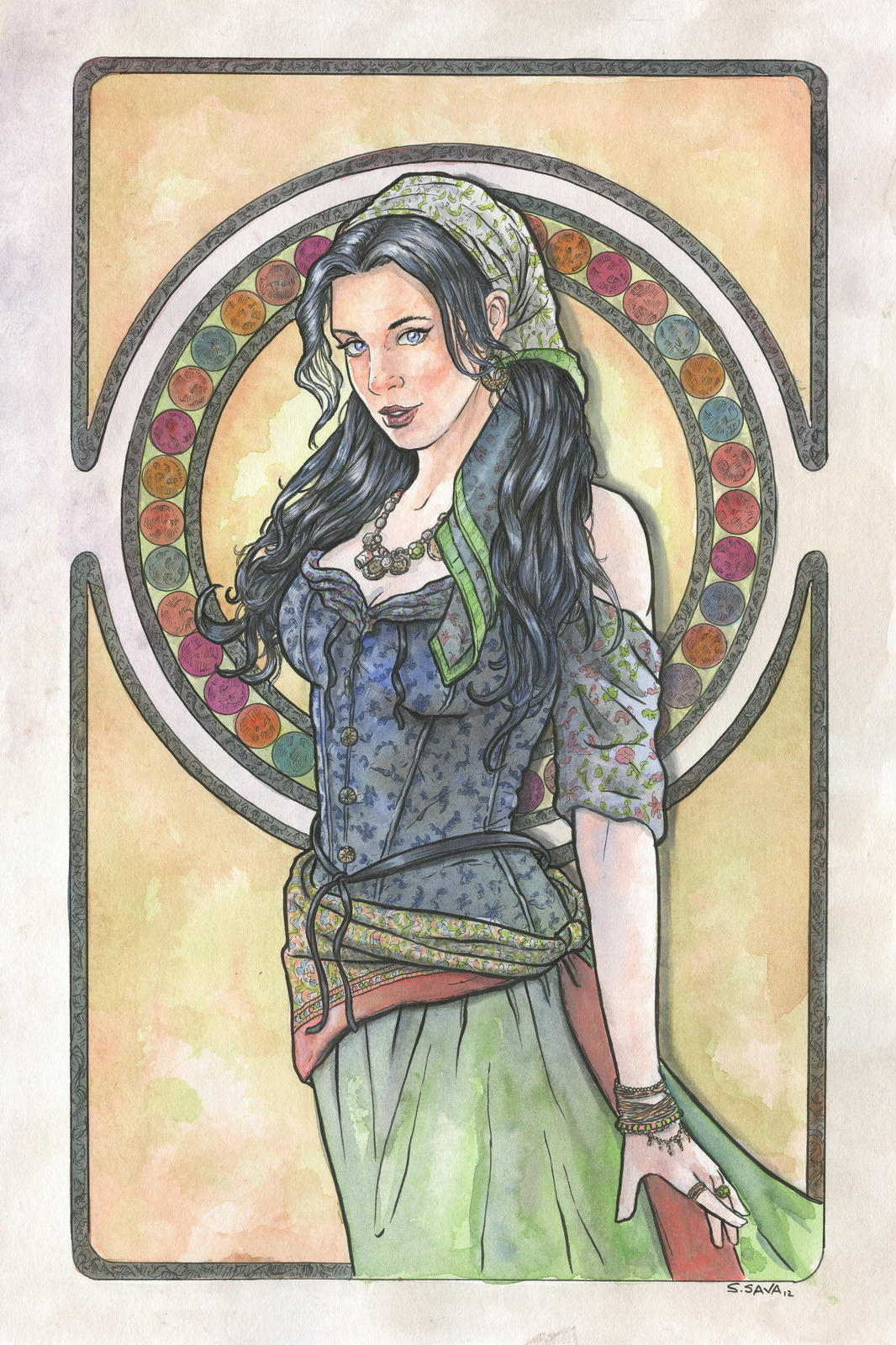 This is the 10th Art Nouveau/Alphonse Mucha inspired watercolor painting I've done this year. The painting is on 12x18 Canson watercolor paper. Done in watercolors and ink. Photo reference/inspiration can be seen here… http://faestock.deviantart.com/gallery/?offset=288#/d57o5tz Original paintings can be purchased here… http://www.etsy.com/shop/ScottChristianSava?section_id=11821287 and Limited Edition Prints can be purchased here… http://www.etsy.com/shop/ScottChristianSava?section_id=11821297 Thanks for looking! Scott