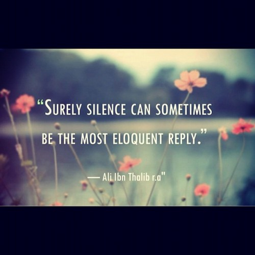 islamicthinking:  Surely silence can sometimes be the most eloquent reply. (Ali RA)