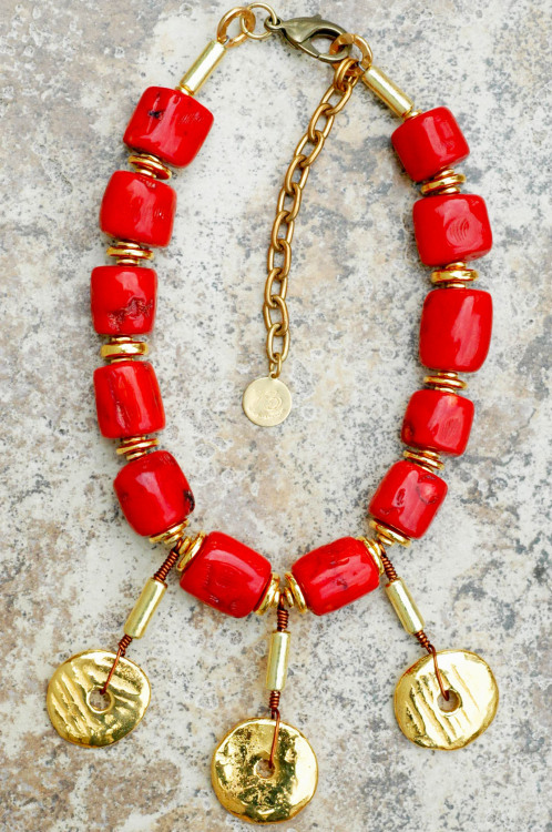 Red Coral and Gold Disc Statement Necklace