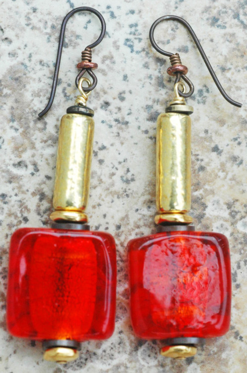 Red Venetian Foil Glass Earrings