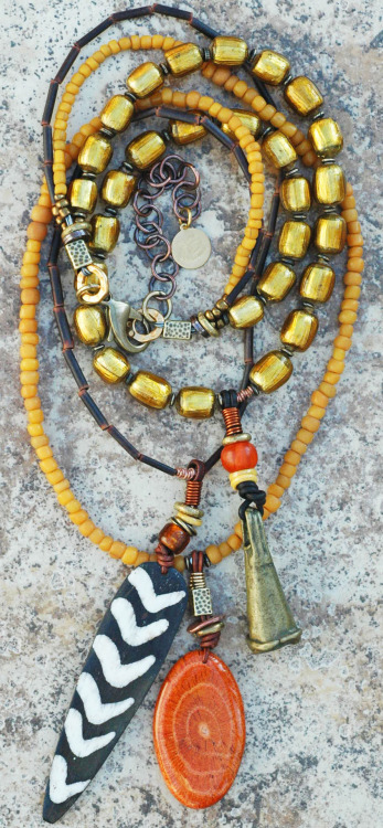 Custom Tribal Style Amber and Gold Glass Multi Pendant Long Necklace