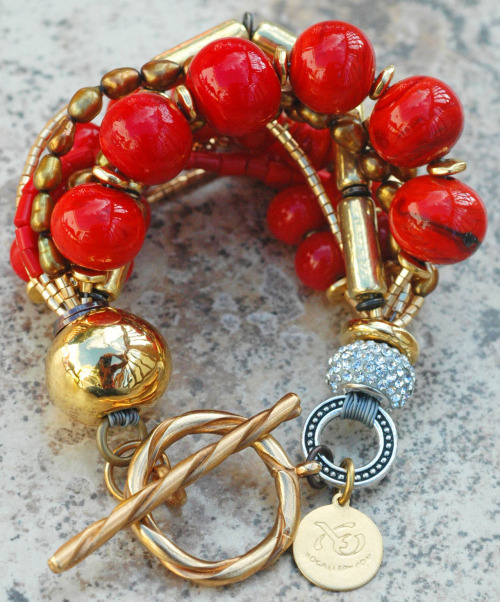 Custom Double Red & Gold Holiday Bracelet