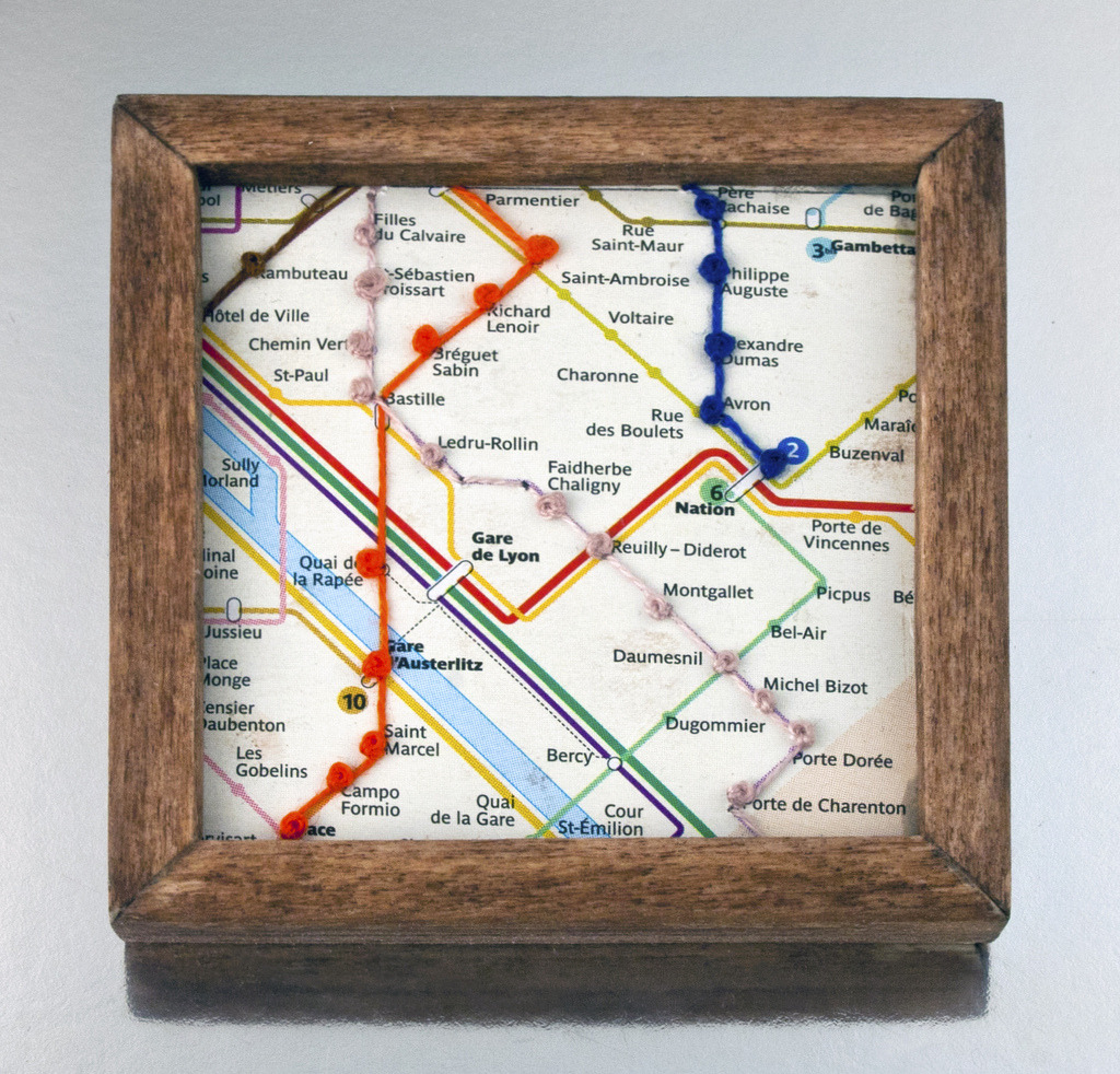 Paris Metro / French Knot Nicely executed embroidery and framing - a fun idea for something to do with those metro maps you picked up while backpacking around Europe! (Source: JessTodd/Flickr)