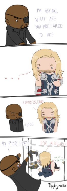 TAKING ONE FOR THE TEAM Thor bb, that's not what Nick meant… Stupid chibi sketch for a happy 100 posts and more followers than I deserve asfkjdsfgkldg THANK YOU