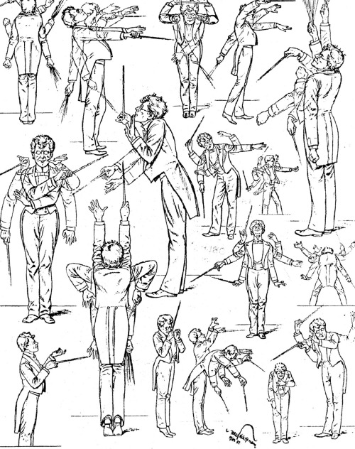 Drawings of conductor Gustav Mahler during his period as director of the Vienna State Opera, 1897-1907.