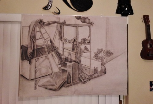 My finished drawing final!  It is a 3' x 4' still life composition, charcoal. 50hrs.