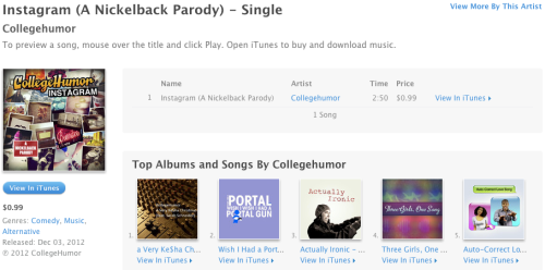 We released Instagram (A Nickelback Parody) on iTunes.  The song you love to hate and hate to love can now be taken with you on the go!