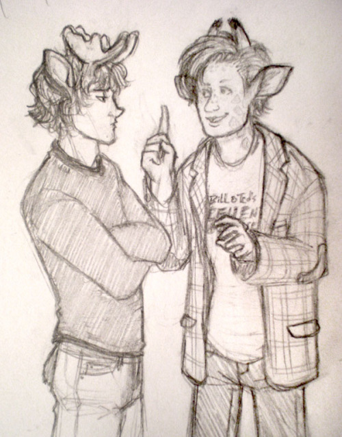DeDraMo day 4! i know a lot of people do the animal-ears thing, but this was mostly sparked by dreadelion's high school AU. er, one of them XD it's not trying to part of her AU or anything; i just gotta give inspiration credit where credit is due :P yes that is sam and the 11th doctor. idk it was just sam at first but then i started thinking about cute tiny antlers and big batty ears and was like GIRAFFES… MATT SMITH…?? baby giraffe horns though, omg. the way they turn in? TOO CUTE. i'd imagine that in a world where people have animal bits like this, people with horns and antlers probably get teased a lot when they're still growing into them, so sam and 11 would bond over that and being generally awkward and gangly XD maybe they trade skinny jeans now and then  also i imagine that some people have spots or stripes sort of like dax. and since a lot of people have tails, it's pretty standard for pants to accommodate that, so even little stumpy ones like sam's hang out. though i didn't draw 11's because it would be hanging awkwardly between his legs and uhhhh. PS i still like the idea that the doctors are actually a eleven brothers with nutty anti-establishment parents who named them all john smith just to confuse the government/stick it to the man. hence why they're all just referred to by number. wow sorry i talk a lot oTL