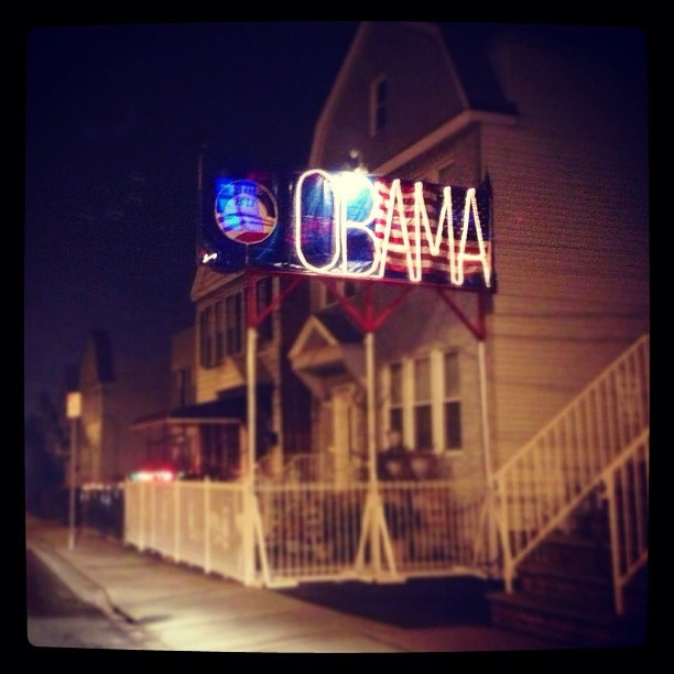 Is it safe to say they weren't on board with Romney #obama #christmaslights #jerseycity #ratchet