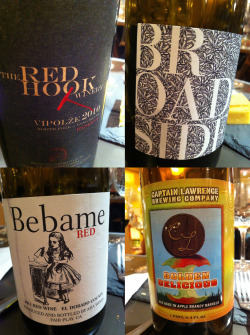 Some of the selections from the wine and beer pairings