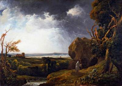 thorsteinulf:   Peter De Wint - Landscape with Lightning and a Hermit (c.1812-16)