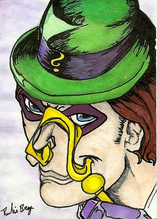 Small water color of The Riddler. I am not thrilled. But then again, I never am.