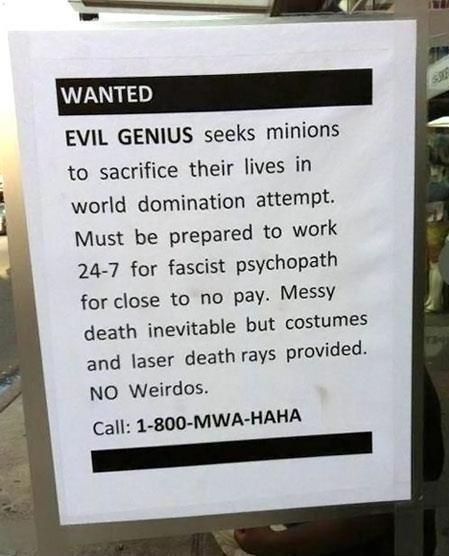 Calling all HenchmenWanted I so totally stole this from the Cheezbuger site. With my deep love of James Bond one can…View Postshared via WordPress.com