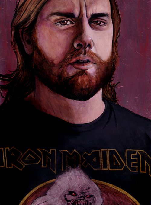 "virginiagiordano:   ""Briron Maiden"" a portrait of my fiance, Brian. Metal on Metal series. Acrylic on Aluminum Plating. 8""x11""  Hey it's me again!"