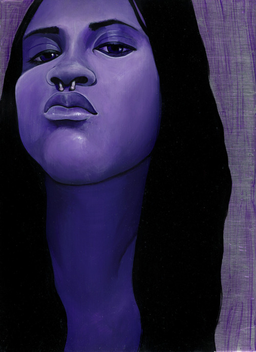 "virginiagiordano:   ""Purple"" Loved this lady. Wonderful to paint. Metal on Metal series. Acrylic on Aluminum Plating.  8""x11"""