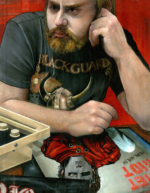 "virginiagiordano:   ""Metal Health""  Portrait of Brian. 14""x18"" Acrylic on Maple Panel.  Hey it's me!"