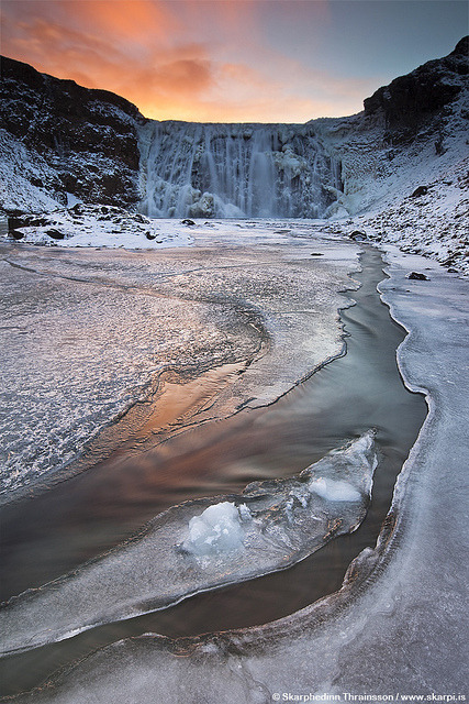 Frozen waterfall in Iceland by skarpi - www.skarpi.is on Flickr.