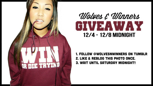 wolvesnwinners:  Wolves & Winners Giveaway 12/4  - 12/8 Midnight.  Follow @wolvesnwinners on tumblr  Like and reblog this photo once.  Wait until Saturday night! http://www.wolvesnwinners.com/