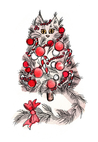 Christmas Tree Cat by Lindsay