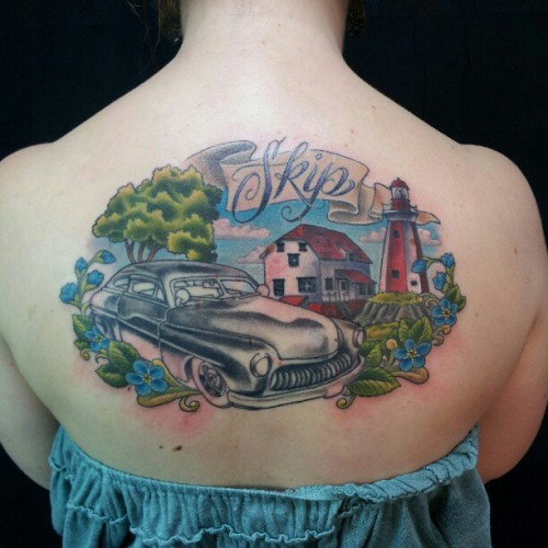 Worked on this fun dad piece some more! #memorial #car #tattoo #toronto #archivetattoo #tattoos #aliek