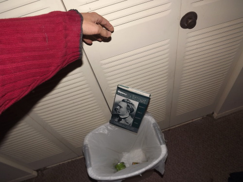 thejogging:  Throwing Nietzsche'sBiography in the Trash, 2012 Performance ۞