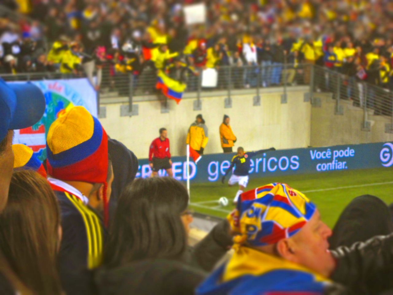 Colombian fans cheer on a Los Cafeteros corner kick at Metlife Stadium against Brazil.
