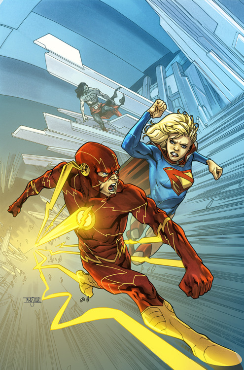 The Flash Vs Supergirl // artwork by Mahmud Asrar (2012) Cover art for Supergirl #16.
