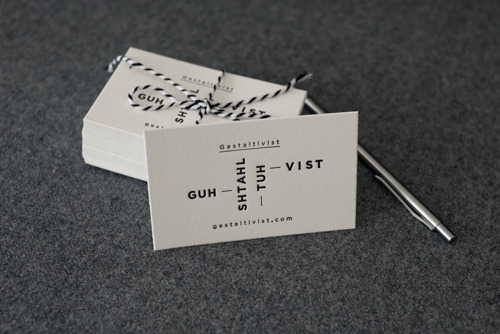 Letterpress cards for Gestaltivist on pearl white Crane Lettra cotton stock.
